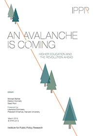 An Avalanche is Coming: Higher Education and the Revolution Ahead - Report Cover
