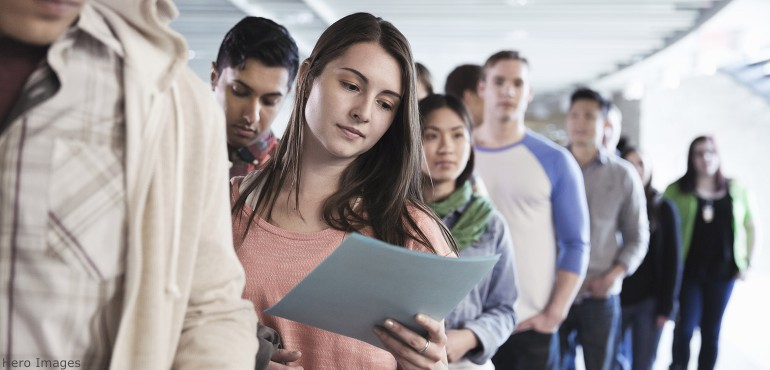 College students standing in line