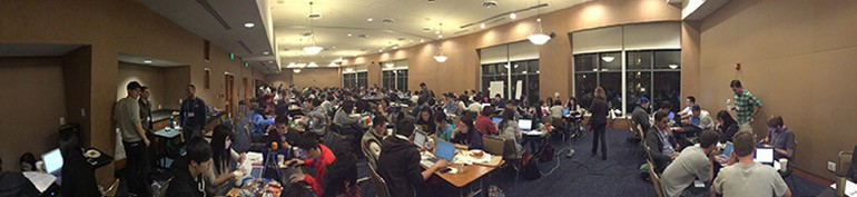 DataFest students working late into the night in 2015