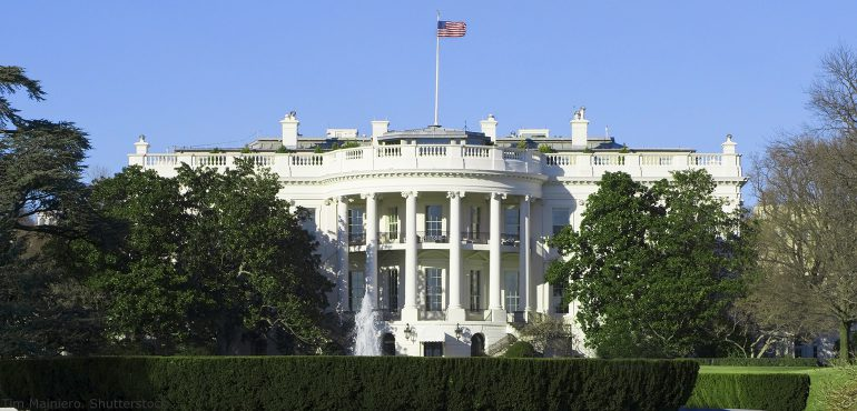 Front view of the presidential white house