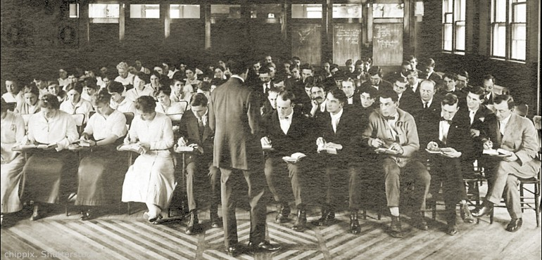 Historical image of college classroom circa early 1900s