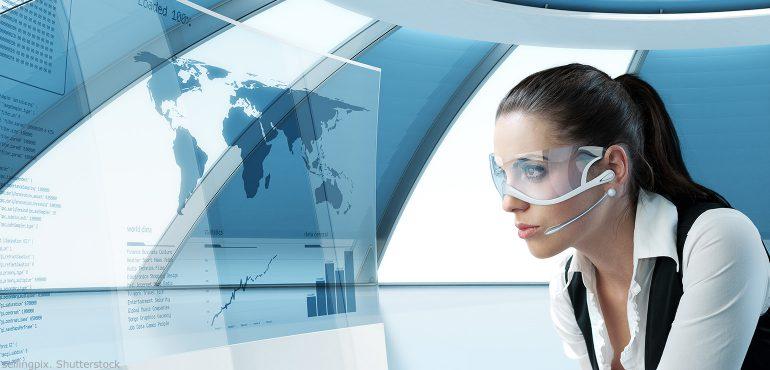 Latina woman wearing virtual reality glasses and looking at a virtual screen