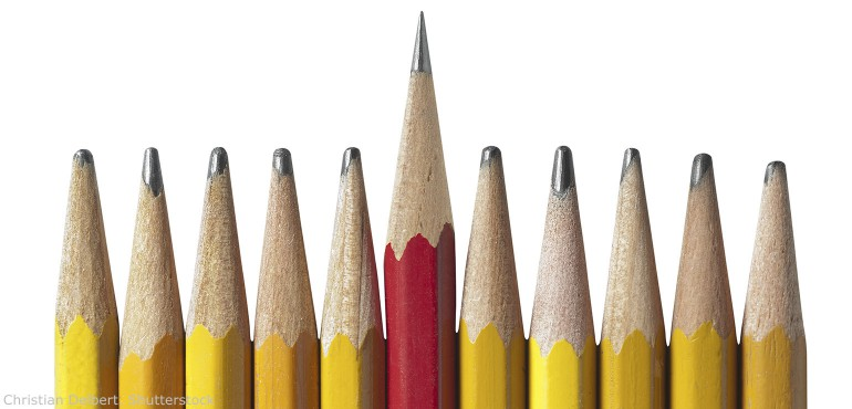 One sharp red pencil in the middle of ten dull yellow pencils