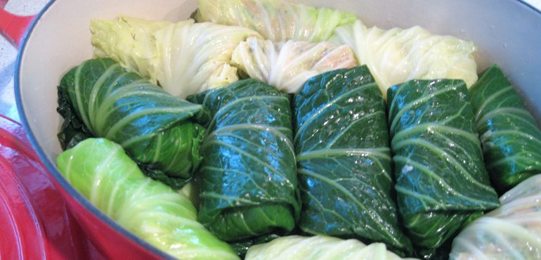 Rolled cabbage in a red pot for cooking