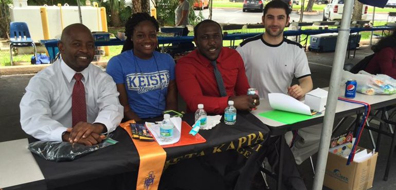 Keiser U student government event with PTK members
