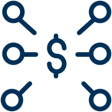 Illustration of a diagram with a blue dollar sign in the center and six blue lines branching out