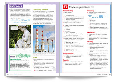 Sample spread from Pearson Science Student book