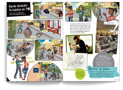 Sample spread from Quoi de neuf student book