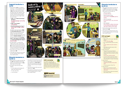 Sample spread from Quoi de neuf 2 Teacher Companion