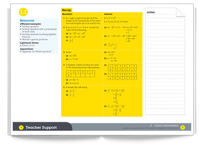 Sample spread from Pearson Mathematics 10 Teacher Companion