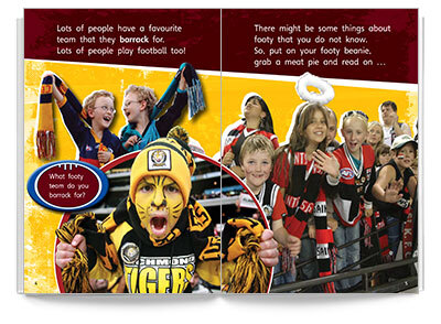 Sample spread from Bug Club - All About the AFL