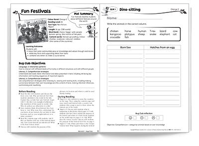 Sample spread from Bug Club teacher's resource book