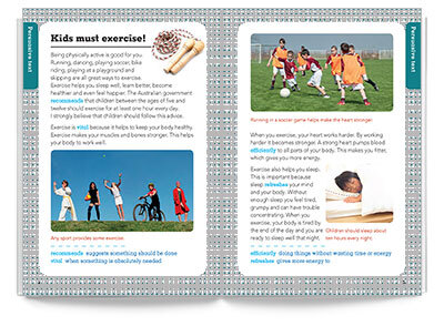 Sample spread from Pearson English 3 Healthy Body Healthy Mind Student Magazine