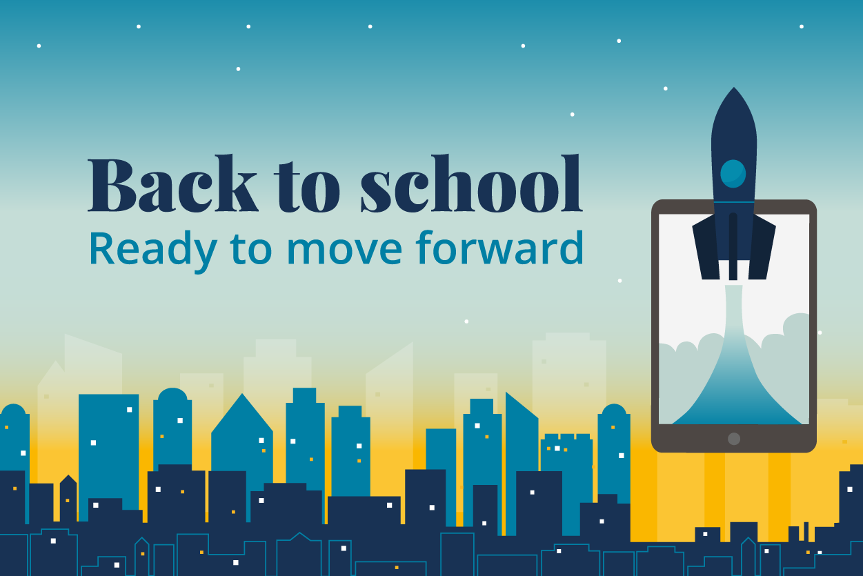 Back to School Ready to move forward image with rocket