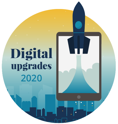 Digital Upgrades 2020 rocket and tablet icon