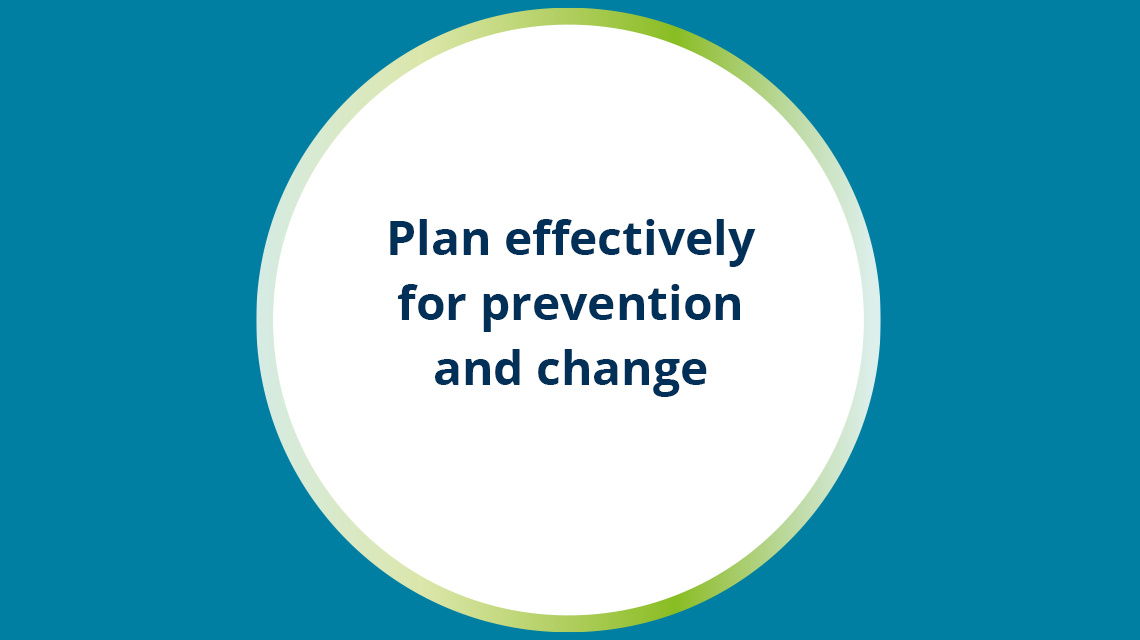 Plan effectively for prevention and change