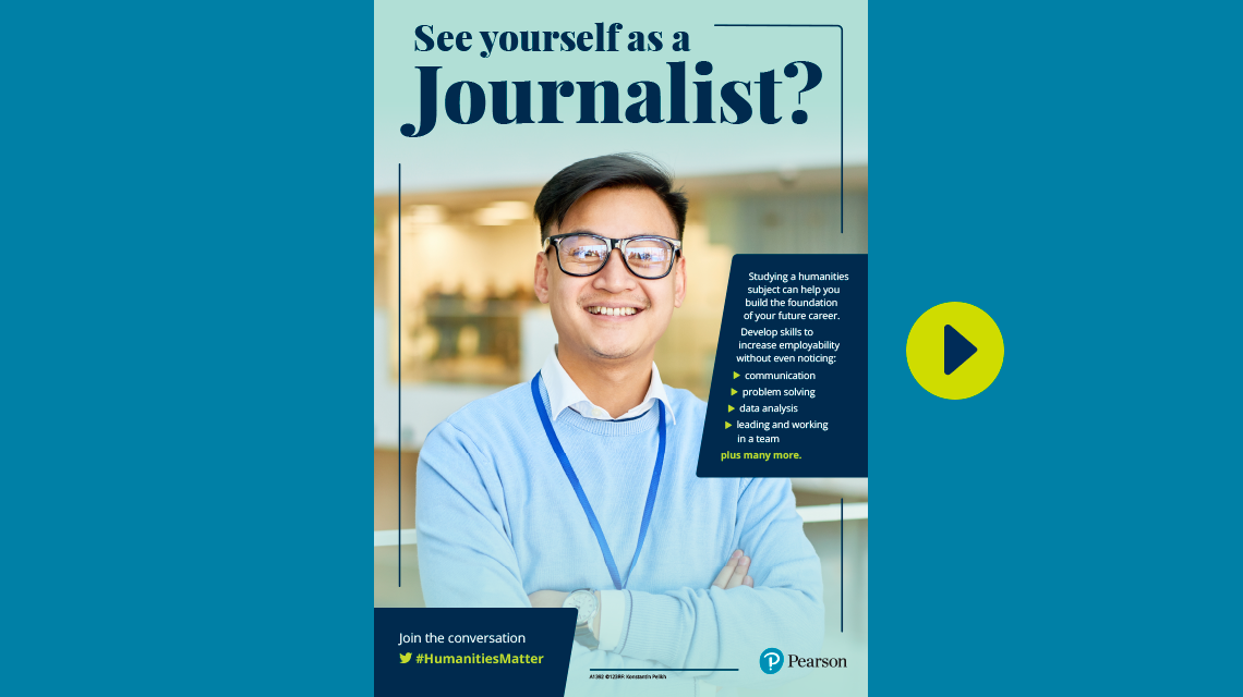 #HumanitiesMatter journalist poster - male