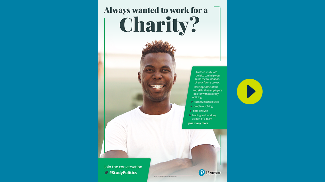 #StudyPolitics charity poster - male