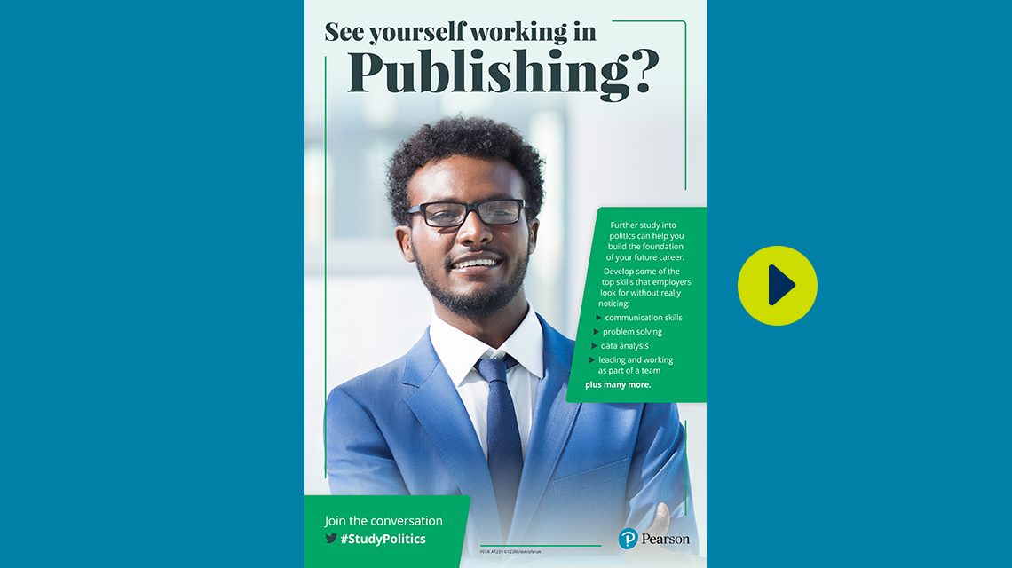 #StudyPolitics publishing poster - male
