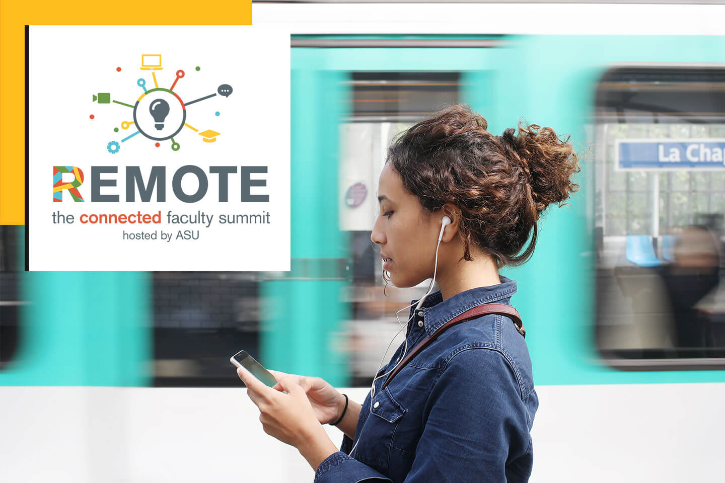 Woman on her phone with headphones. Logo on photo that states Remote the connected faculty summit hosted by ASU.