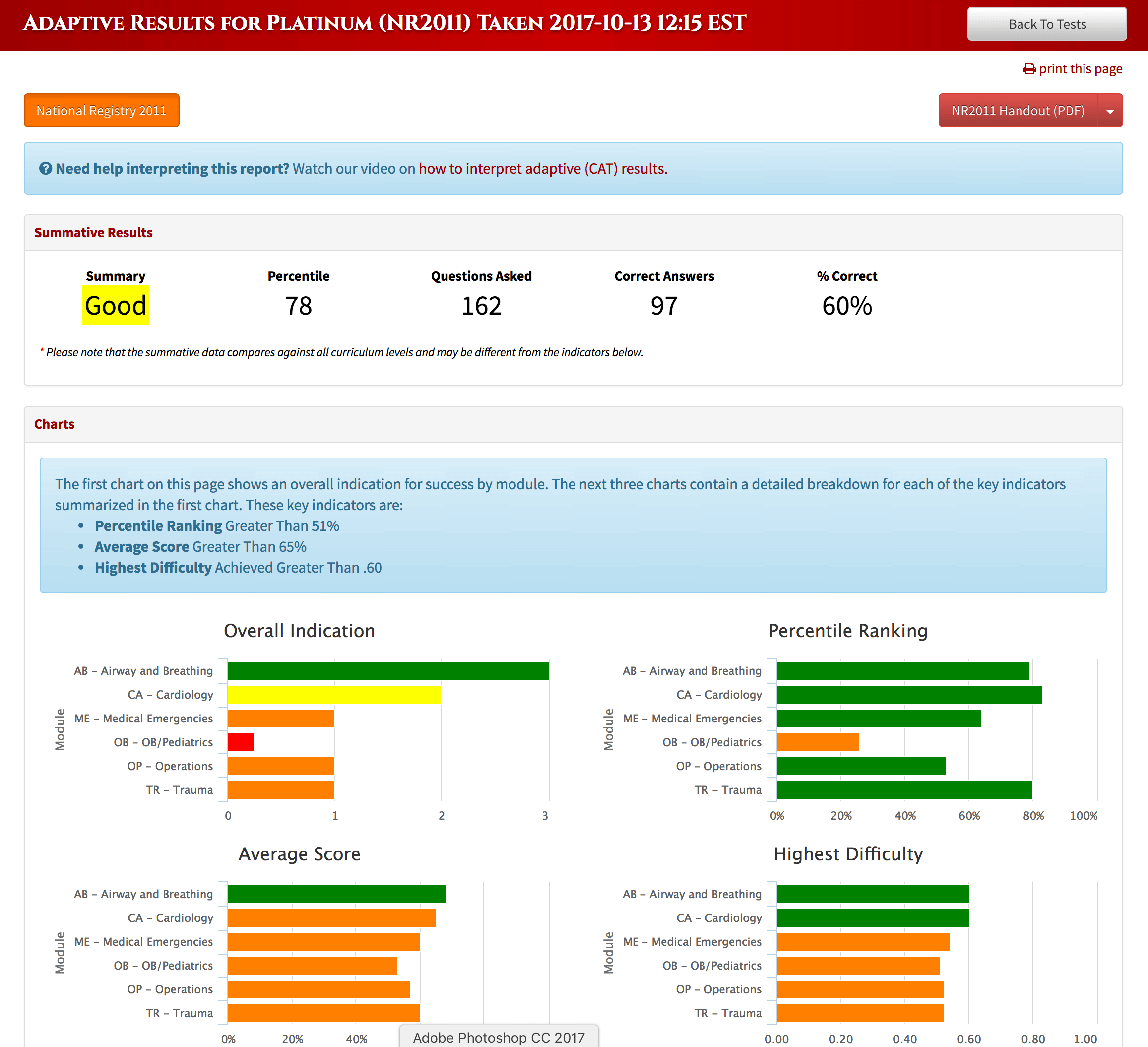 Screenshot of EMSTesting Summary Report in Computer Adaptive Testing