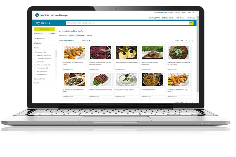image of MyLab Culinary page on a laptop