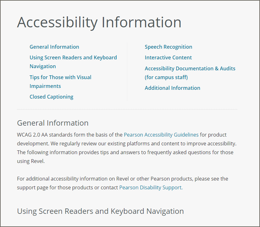 Screenshot of Accessibility Information page